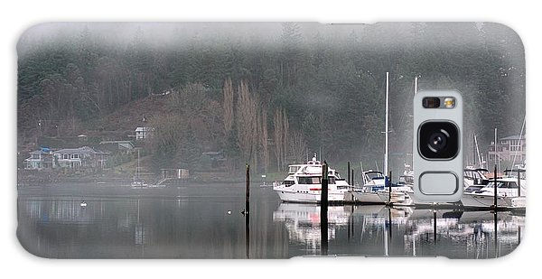 Boats Between Water And Fog Galaxy Case