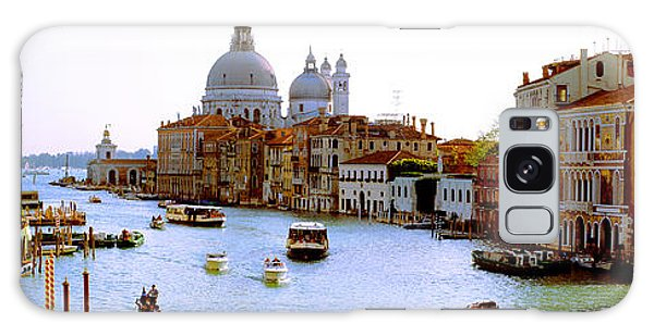 Place Of Worship Galaxy Case - Boats In A Canal With A Church by Panoramic Images