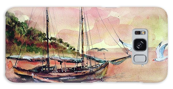 Boats In Sunset  Galaxy Case