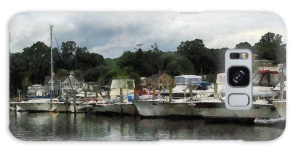 Boats On A Cloudy Day Essex Ct Galaxy Case by Susan Savad