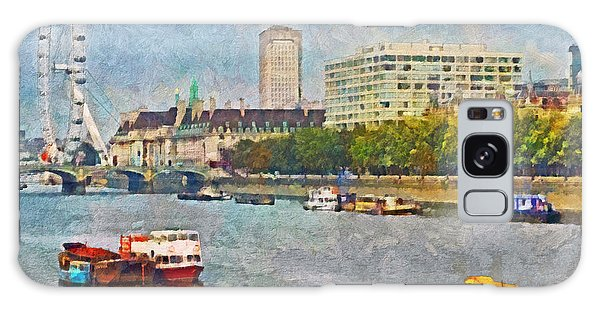 Boats On The River Thames And The London Eye Galaxy Case