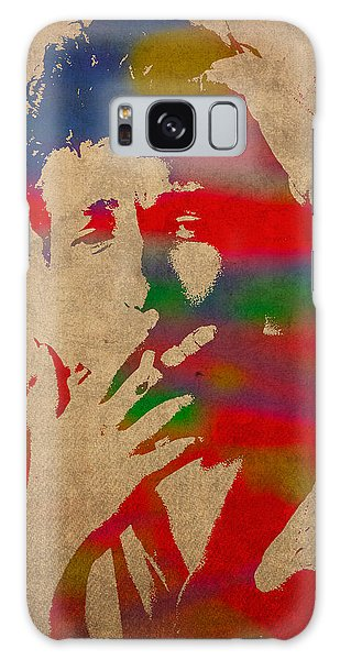 Bob Dylan Watercolor Portrait On Worn Distressed Canvas Galaxy Case