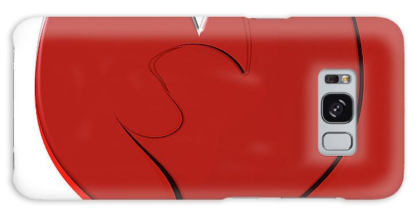 Bold Red Abstract Heart On Red And White Design 2 Galaxy Case by Linda Matlow