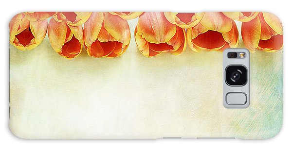 Border Of Orange Tulips Galaxy Case