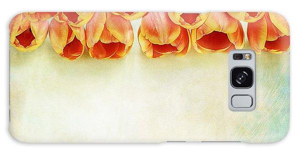 Border Of Orange Tulips Galaxy Case by Stephanie Frey