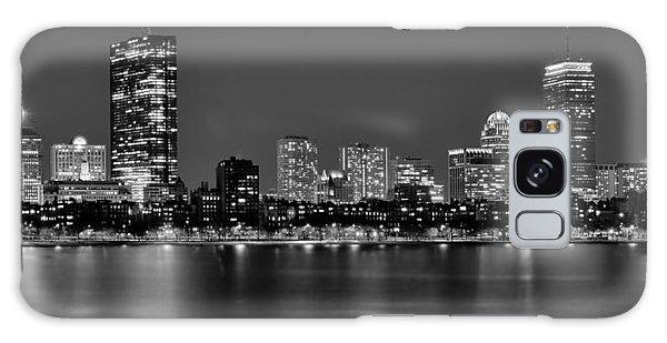 Boston Back Bay Skyline At Night Black And White Bw Panorama Galaxy Case