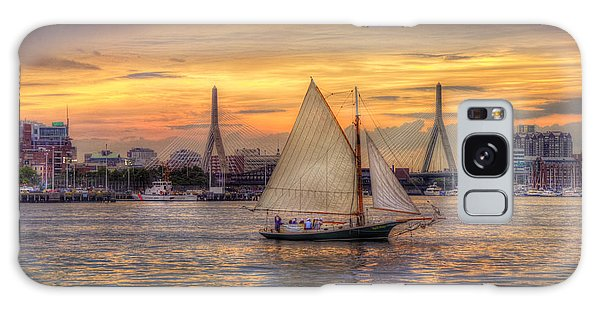 Boston Harbor Sunset Sail Galaxy Case