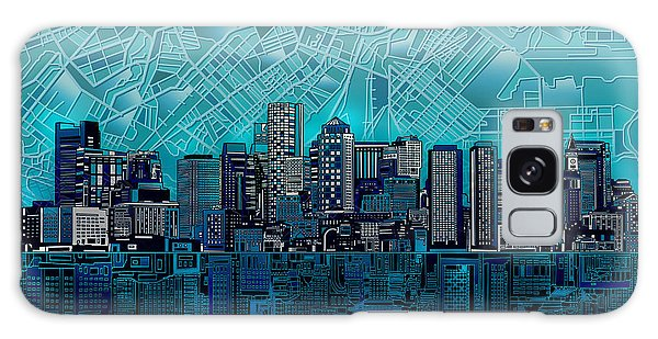 Boston Skyline Abstract Blue Galaxy Case