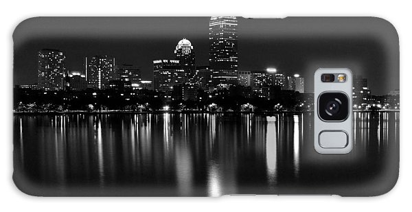Boston Skyline By Night - Black And White Galaxy Case