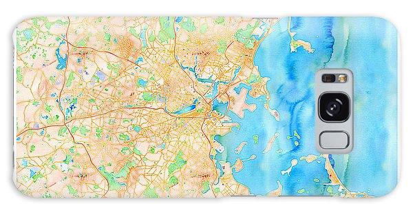 Galaxy Case featuring the digital art Boston Watercolor Map by Joy McKenzie