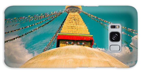 Boudhanath Stupa In Nepal With Blue Sky Galaxy Case