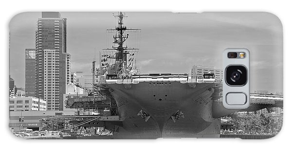 Bow Of The Uss Midway Museum Cv 41 Aircraft Carrier - Black And White Galaxy Case by Claudia Ellis