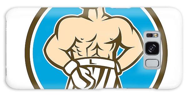 Sportsman Galaxy Case - Boxer Champion Shouting Circle Retro by Aloysius Patrimonio