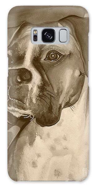 Boxer Dog Sepia Print Galaxy Case