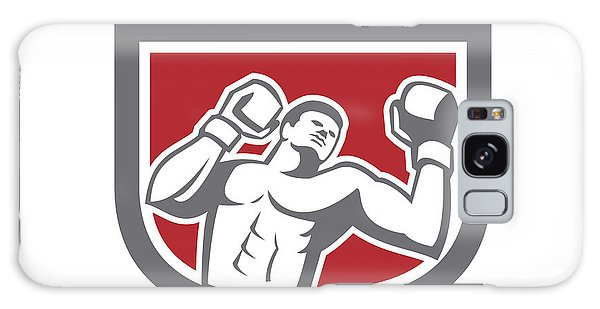 Sportsman Galaxy Case - Boxer Punching Boxing Shield Retro by Aloysius Patrimonio