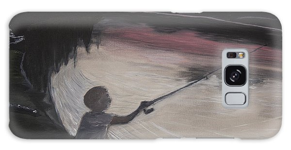 Boy Fishing And Sunset Galaxy Case by Ian Donley