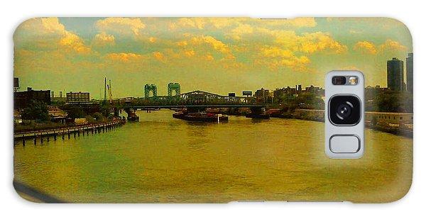 Bridge With Puffy Clouds Galaxy Case by Miriam Danar