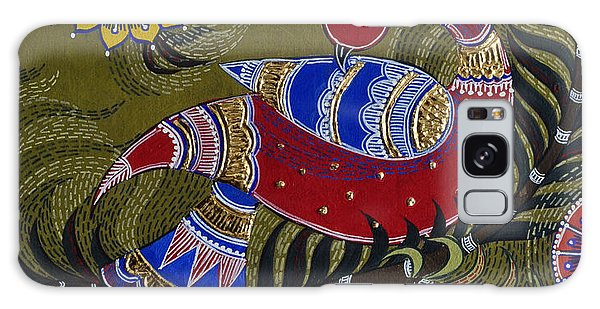 Madhubani Galaxy Case - Bright Red Peacock by Sucheta Misra