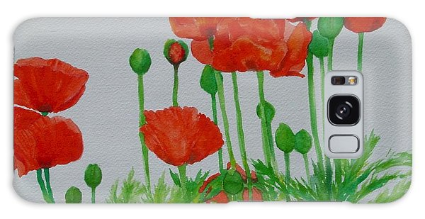 Red Poppies Colorful Flowers Original Art Painting Floral Garden Decor Artist K Joann Russell Galaxy Case