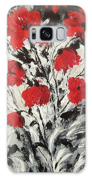Bright Red Poppies Galaxy Case by Renate Voigt