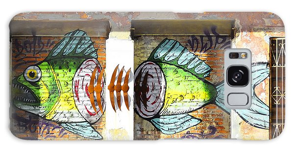 Brightly Colored Fish Mural Galaxy Case