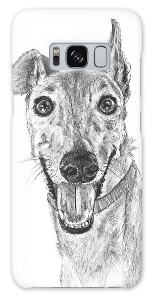 Brindle Greyhound Close Up Portrait Galaxy Case
