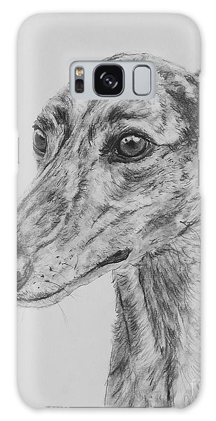 Brindle Greyhound Face In Profile Galaxy Case by Kate Sumners