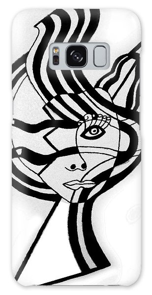 Broken Face With Design Galaxy Case by Christine Perry