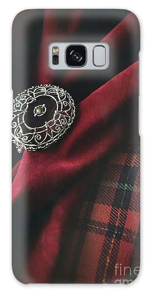Galaxy Case featuring the photograph Brooch With Red Velvet And Green Plaid by Sandra Cunningham