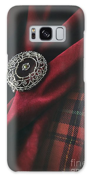 Brooch With Red Velvet And Green Plaid Galaxy Case
