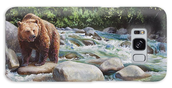 Brown Bear And Salmon On The River - Alaskan Wildlife Landscape Galaxy Case