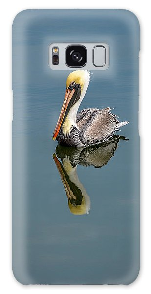 Brown Pelican Reflection Galaxy Case by Debra Martz
