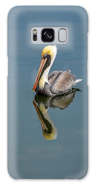 Brown Pelican Reflection Galaxy Case by Debra Martz