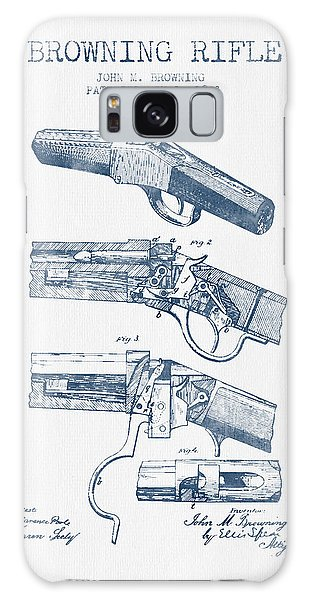 Weapons Galaxy Case - Browning Rifle Patent Drawing From 1921 -  Blue Ink by Aged Pixel