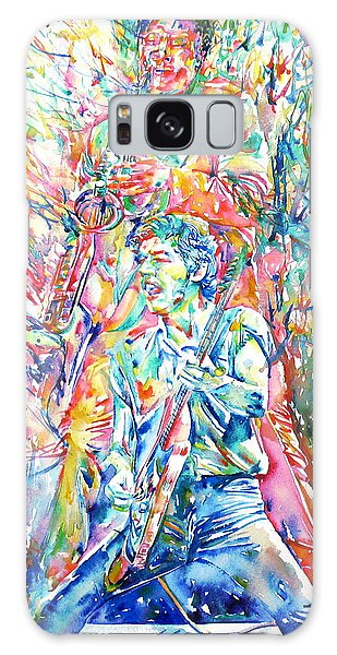 Bruce Springsteen And Clarence Clemons Watercolor Portrait Galaxy Case