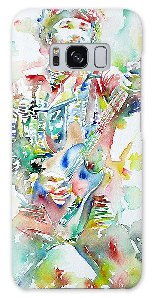 Bruce Springsteen Playing The Guitar Watercolor Portrait Galaxy Case by Fabrizio Cassetta