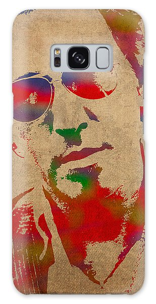 Bruce Springsteen Galaxy S8 Case - Bruce Springsteen Watercolor Portrait On Worn Distressed Canvas by Design Turnpike