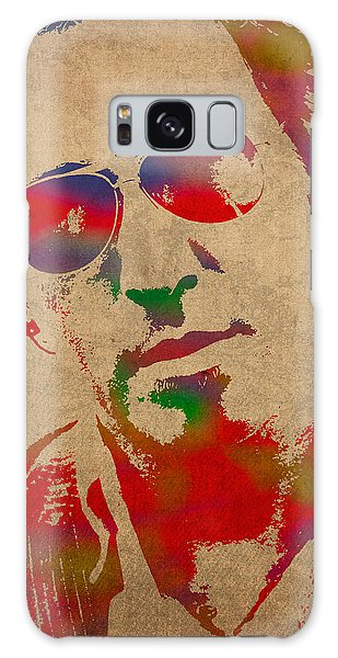Musicians Galaxy Case - Bruce Springsteen Watercolor Portrait On Worn Distressed Canvas by Design Turnpike