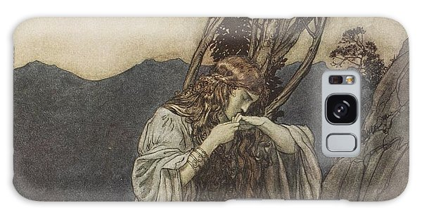 Heartache Galaxy Case - Brunnhilde Kisses The Ring That Siegfried Has Left With Her by Arthur Rackham