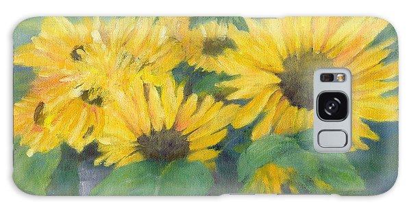Bucket Of Sunflowers Colorful Original Painting Sunflowers Sunflower Art K. Joann Russell Artist Galaxy Case