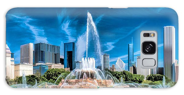 Galaxy Case featuring the painting Buckingham Fountain Skyline Panorama by Christopher Arndt