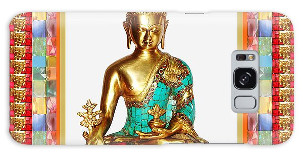 Buddha Sparkle Bronze Painted N Jewel Border Deco Navinjoshi  Rights Managed Images Graphic Design I Galaxy Case by Navin Joshi