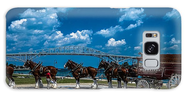 Budweiser Clydsdales And Blue Water Bridges Galaxy Case