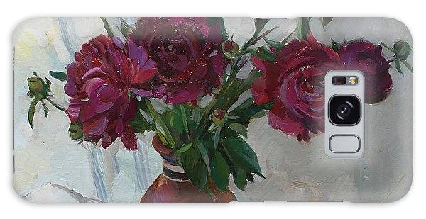 Burgundy Peonies Galaxy Case