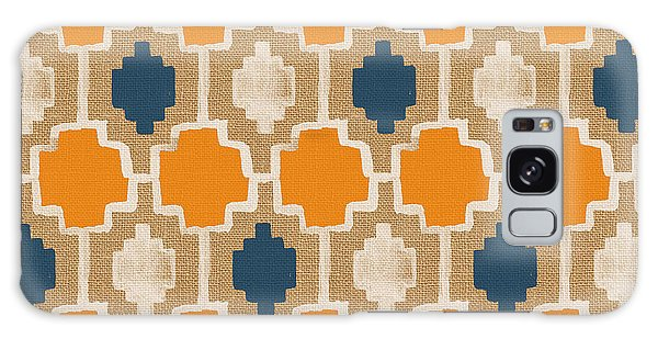 Burlap Blue And Orange Design Galaxy Case by Linda Woods