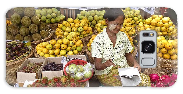 Burmese Lady Selling Colourful Fresh Fruit Zay Cho Street Market 27th Street Mandalay Burma Galaxy Case