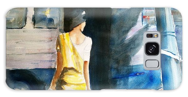 Bus Stop - Woman Boarding The Bus Galaxy Case by Carlin Blahnik