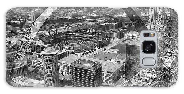 Busch Stadium Bw A View From The Arch Merged Image Galaxy Case