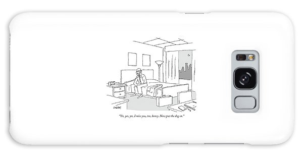 Businessman Sitting On A Bed In Hotel Room Galaxy Case by Jack Ziegler