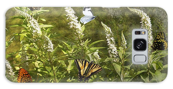 Butterflies In Golden Garden Galaxy Case by Belinda Greb